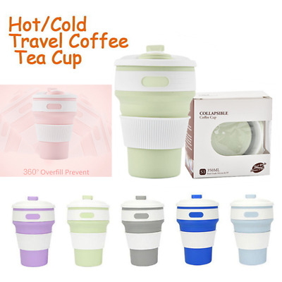 Collapsible Silicone COFFEE Mug Reusable Travel Foldable Leak Proof Outdoor Cup