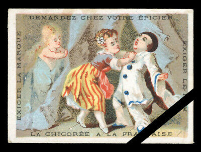"French Antique Trade Card: Clown, Chicoree est. 1890-1920 (3"" x 2-1/8"")"