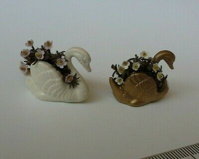 Miniature swans 2 dolls house swan planters with flowers