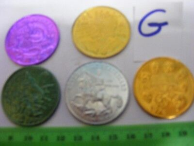 Lot of 5 Genuine New Orleans Mardi Gras Doubloons,years 1969.1974..83..90..95(G)