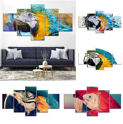 Parrot Bird Artwork Canvas Print Painting Framed Home Decor Wall Art Poster 5Pcs