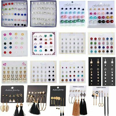 Fashion Rhinestone Crystal Pearl Earrings Set Women Ear Stud Jewelry 12 Pairs