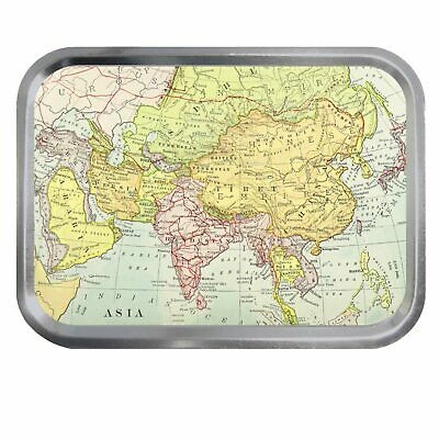 Vintage Map of Asia Lidded 2oz Tin Tobacco Storage Fishing Jewellery Sewing
