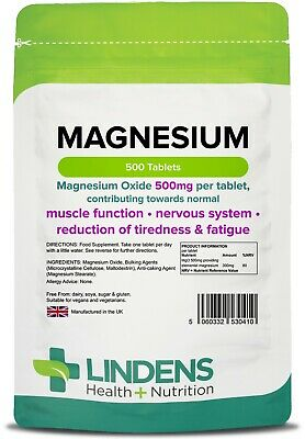 Magnesium Mgo 500mg Tabletten (500 Pack) UK Hersteller [Lindens 0410]