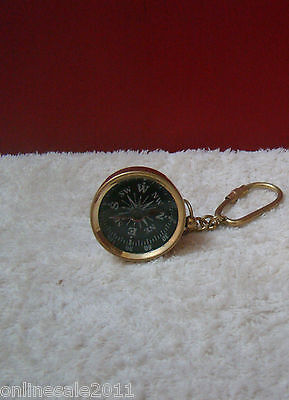 Brass Nautical Marine 2x Directional Pocket Compass Keychain Ring Lot of Two