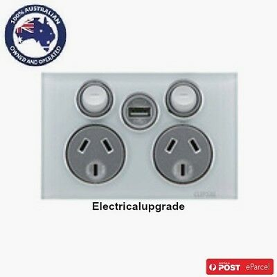 Clipsal Saturn 4025USBC Complete Unit Double GPO with Single USB  in all colours