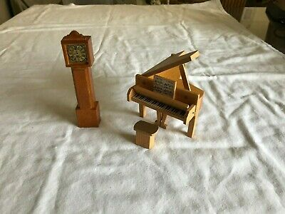 Dolls house wooden piano with stool and grandfather clock