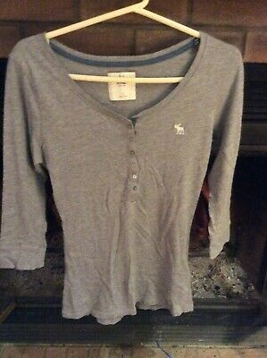 2b06b1234a0 Womens Abercrombie   Fitch Gray 3 4 Sleeve Button Front Top-Size Small