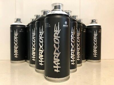 MTN HARDCORE Montana Colors BLACK & WHITE Spray Paint SPECIAL * 12 CANS FREE P&H