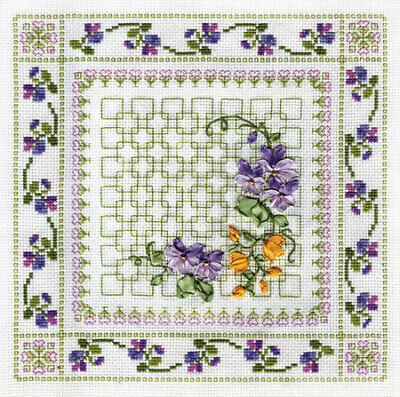 Counted Cross Stitch & Ribbon Embroidery Kit - Vibrant Flowers C-0575