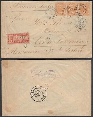 Colombia 1890 - Registered cover Barraquilla to Berlin Germany - Paquebot 3771