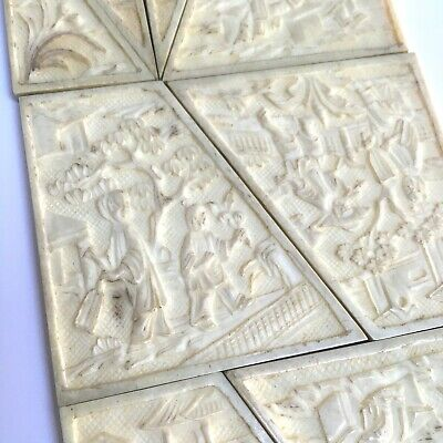 Antique Chinese Export Qing Canton  19c Carved carving Puzzle game Tangram