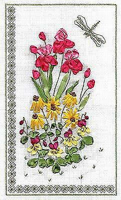 Panna Ribbon Embroidery Kit - C-0646 Floral Embroidery with a Dragonfly