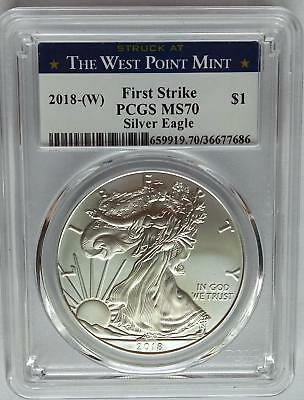 PCGS MS70 First Strike 2018 (W) Silver AMERICAN EAGLE Dollar $1 West Point 1oz `