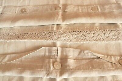 """Set 3 Antique French Linen Large Shams Hand Made Lace 30""""x 31""""  76 x 78.5 cm"""