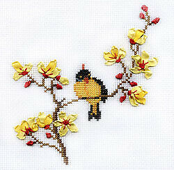 Panna Counted Cross Stitch & Ribbon Embroidery Kit - D-0436 Spring Song