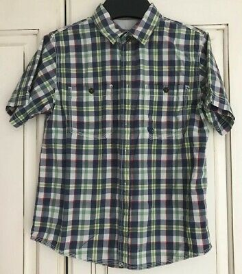 Fab Fat Face Boys Blue Green Red And Ivory Check Short Sleeved Shirt Age 12 - 13