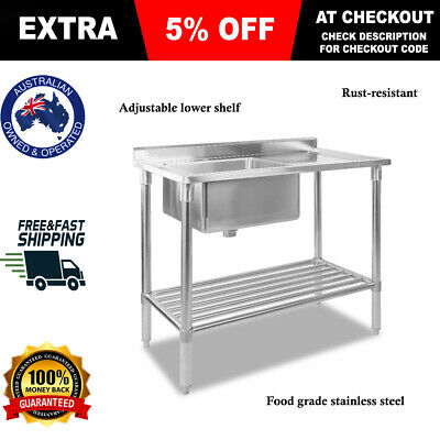 Cefito 100x60cm 304 Stainless Steel Sink Kitchen Bench Single Bowl Commercial