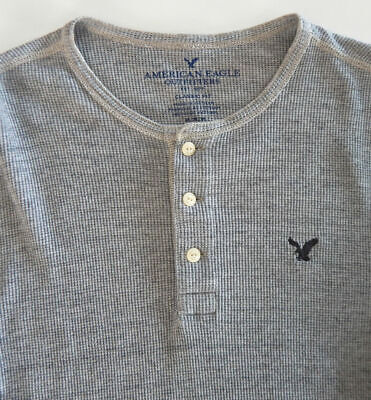 9b3ae05f American Eagle Outfitters ~ Men's ~ Gray ~ L/S ~ Thermal Henley Shirt ~