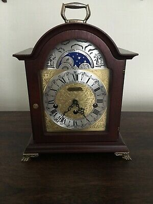 Franz Hermle Mahogany Case Westminster Chiming Mantel Clock