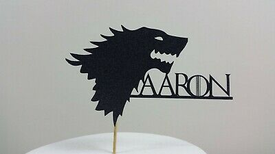 Personalised Game of thrones  inspired Stark Wolf Sigil Card Cake topper