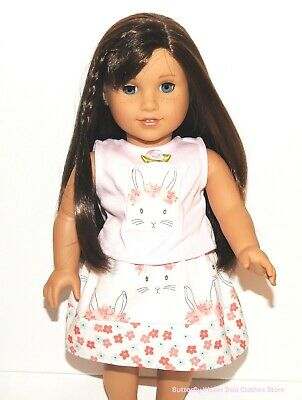 Handmade Easter Bunny Skirt + Appliqué Top 18 in Doll Clothes Fit American Girl