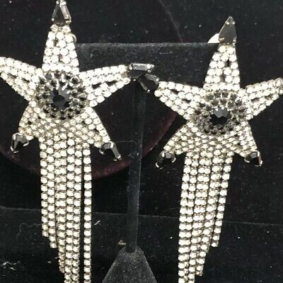 Star Rhinestone Black White Western Drippy Cowboy Earring Clips Runway Huge