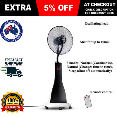 40cm Misting Fan Portable Cool Breeze Mist Fan Ventilate 3L Water Tank Pedestal