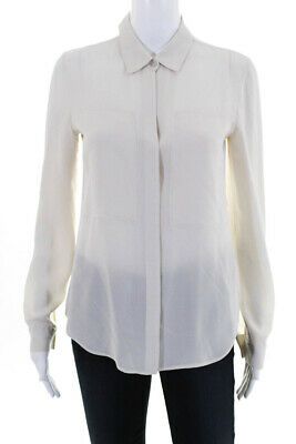 9d0791e33260d Theory Womens Button Down Crew Neck Collared Blouse White Silk Size Small