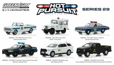 Greenlight Hot Pursuit Series 29, Set Of 6 Police Cars 1/64 By Greenlight 42860