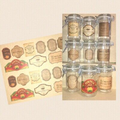 LABELS ONLY Halloween Apothecary Potion Bottle Harry Potter Party Prop Favor Jar