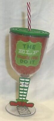 Slant Collections 13oz Plastic Wine Glass Lid Straw The Elf Made Me Do It New
