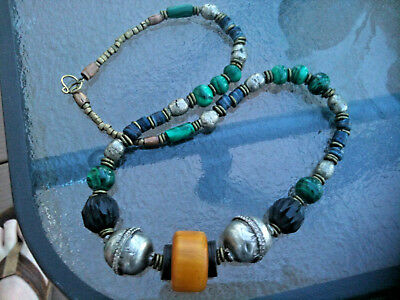 "Tibetan Amber malachite Necklace 21"", African glass ,wood and sliver metal beads"