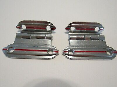 "Vintage CHROME Small Cabinet Door Hinges RED Lines 3/8"" Offset Art Deco"