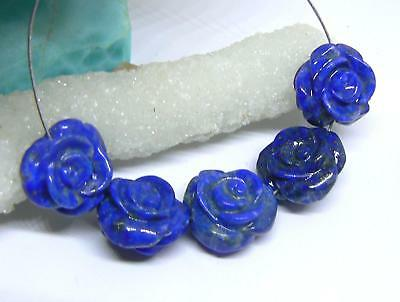5 RARE NATURAL BLUE LAPIS LAZULI HAND CARVED ROSE FLOWER BEADS AFGHAN 15mm AAA