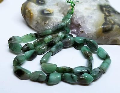 """37 GREEN EMERALD NUGGET BEADs 115cts 9-15mm 16"""" STRAND NATURAL GEMSTONE"""
