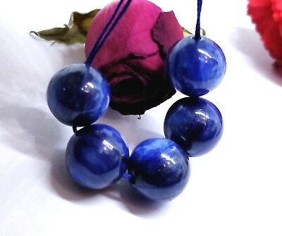 5 RARE NATURAL CHATOYANT BLUE ROUND KYANITE BEADS 11mm PHENOMENAL COLOR AAAA