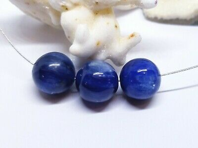 3 RARE NATURAL CHATOYANT BLUE ROUND KYANITE BEADS 11mm PHENOMENAL COLOR AAAA