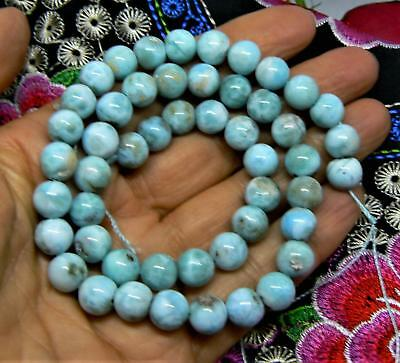 "NATURAL CARIBBEAN BLUE LARIMAR ROUND BEADS 8mm 204cts 15.5"" STRAND"