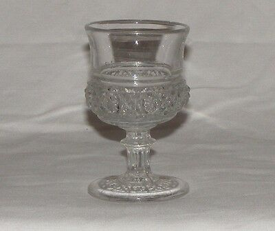 Antique Early Canadian Pressed Glass Wine Cordial Goblet Daisy X Band  Rare Eapg