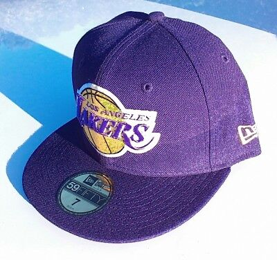 LOS ANGELES LAKERS NBA Basketball Purple New Era 5950 Fitted Hat Cap NWT  Size 7 f55b6dff60a1