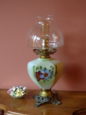Victorian Fostoria glass (F.&G.Co) gas lamp Converted to Electric Hand Painted