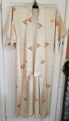 Lovely Cream & Yellow Gold Patterned Vintage Japanese Full Length Silk Kimono