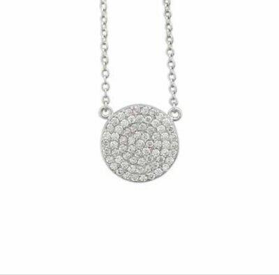 925 Sterling Silver White Round Diamond Circle Disc Pendant Necklace