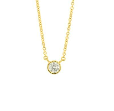 14k Yellow Gold 925 Sterling Silver White Round Diamond Bezel Pendant Necklace