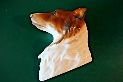 Vintage Collie Dog 3D Wall Plaque Handpainted Marked - Made in Japan Beautiful