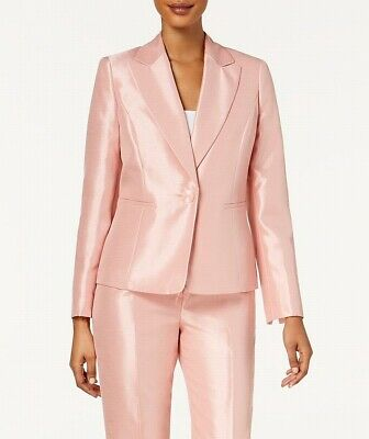 Le Suit NEW Blush Pink Womens US Size 8 Shiny One-Button Suit Blazer $200- 059