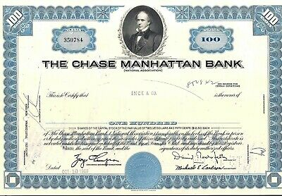 Stock certificate Chase Manhattan bank .David Rockefeller State of NY blue