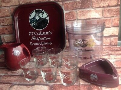 McCALLUMS SCOTS WHISKY SET BUCKET GLASSES TUMBLERS TRAY ASHTRAY BARWARE WHISKEY