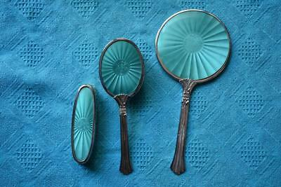 VINTAGE Made In England Original Round Hand Mirror & Clothes/Hair Brush Set Rare